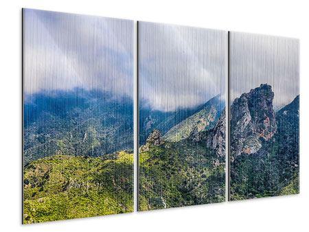 Metallic-Bild 3-teilig Der stille Berg
