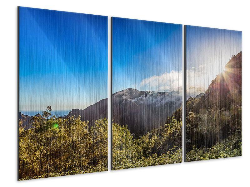 Metallic-Bild 3-teilig Berge am Meer