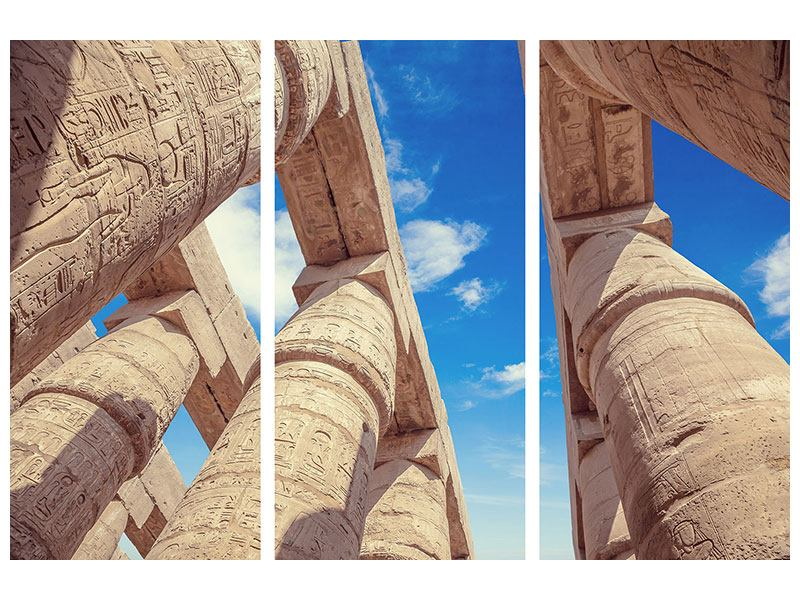 Metallic-Bild 3-teilig Tempelsäulen