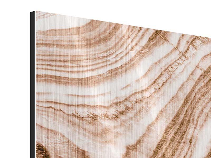 Metallic-Bild 3-teilig Marmor in Sepia