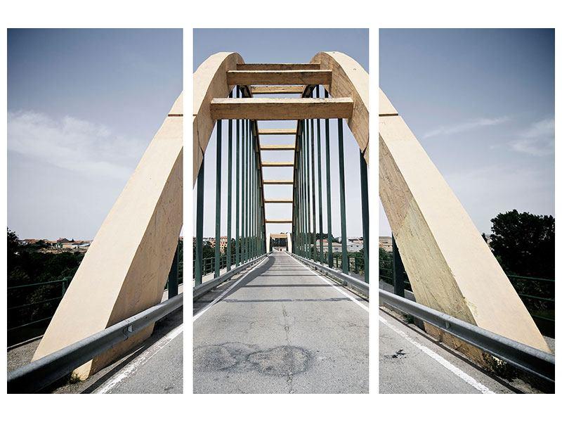 Metallic-Bild 3-teilig Imposante Hängebrücke