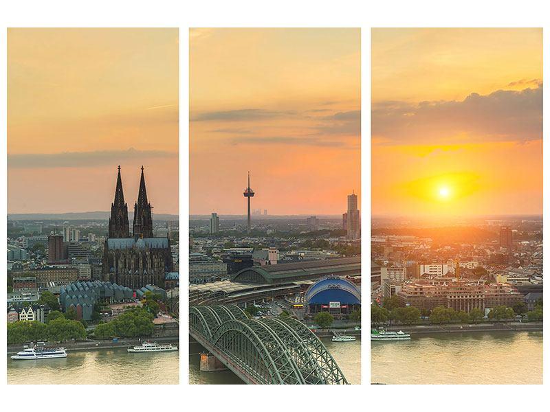 Metallic-Bild 3-teilig Skyline Köln bei Sonnenuntergang