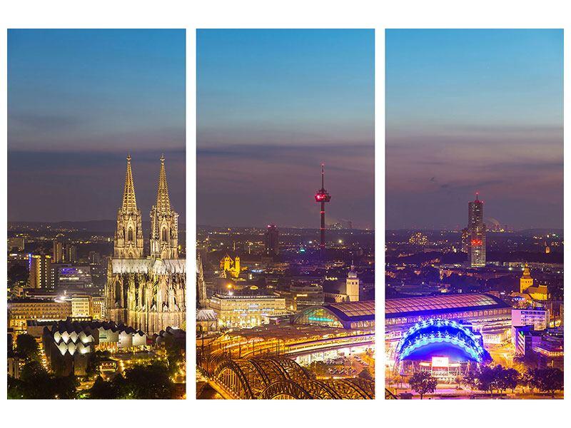 Metallic-Bild 3-teilig Skyline Kölner Dom bei Nacht