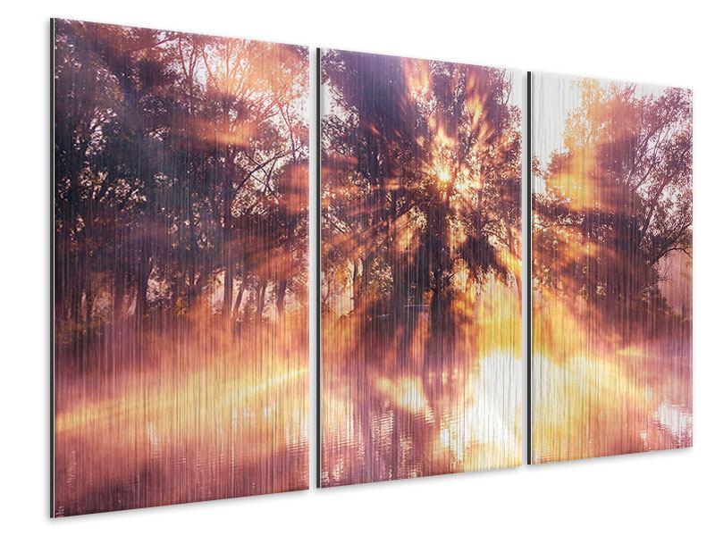 Metallic-Bild 3-teilig Die Waldspiegelung