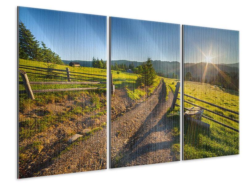 Metallic-Bild 3-teilig Sonnenaufgang am Berg