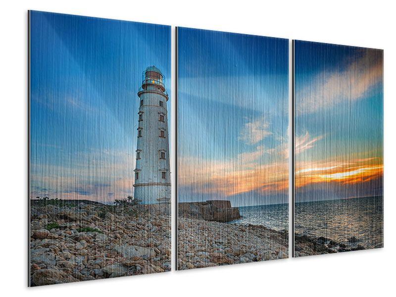 Metallic-Bild 3-teilig Sonnenuntergang am Leuchtturm