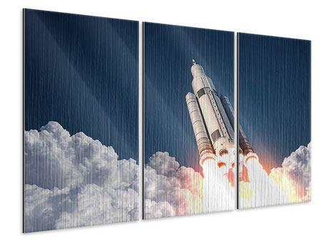 Metallic-Bild 3-teilig Raketenstart