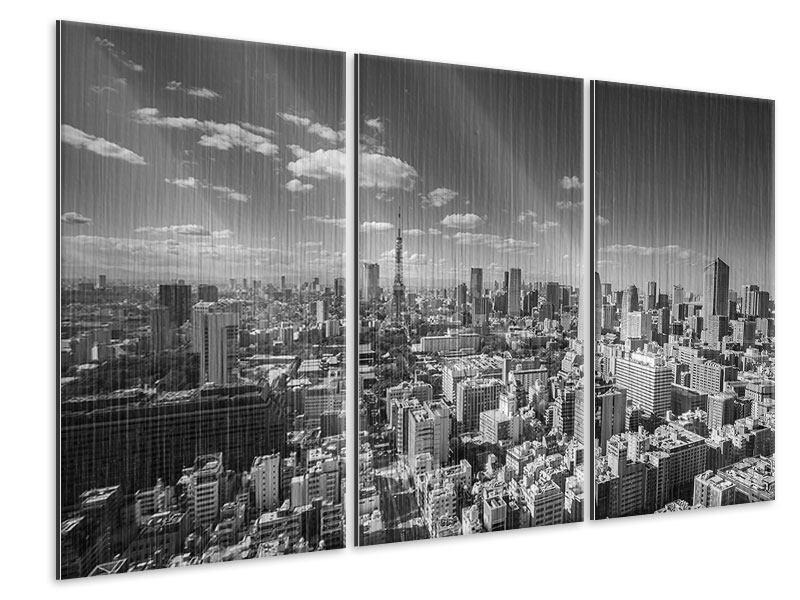 Metallic-Bild 3-teilig Tokio