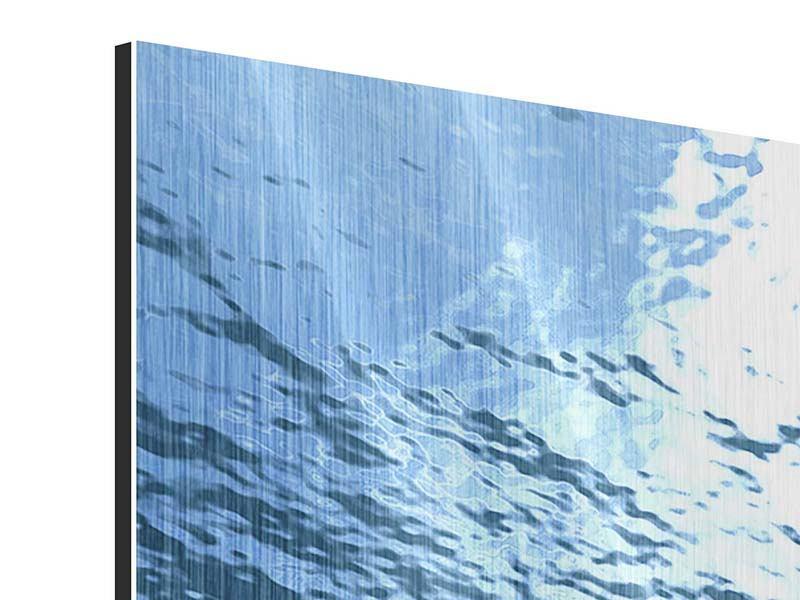 Metallic-Bild 3-teilig Sonnenstrahlen unter Wasser