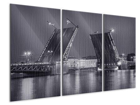 Metallic-Bild 3-teilig Klappbrücke bei Nacht