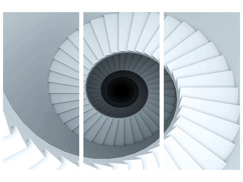 Metallic-Bild 3-teilig 3D Wendeltreppe