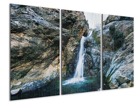 Metallic-Bild 3-teilig Bewegtes Wasser