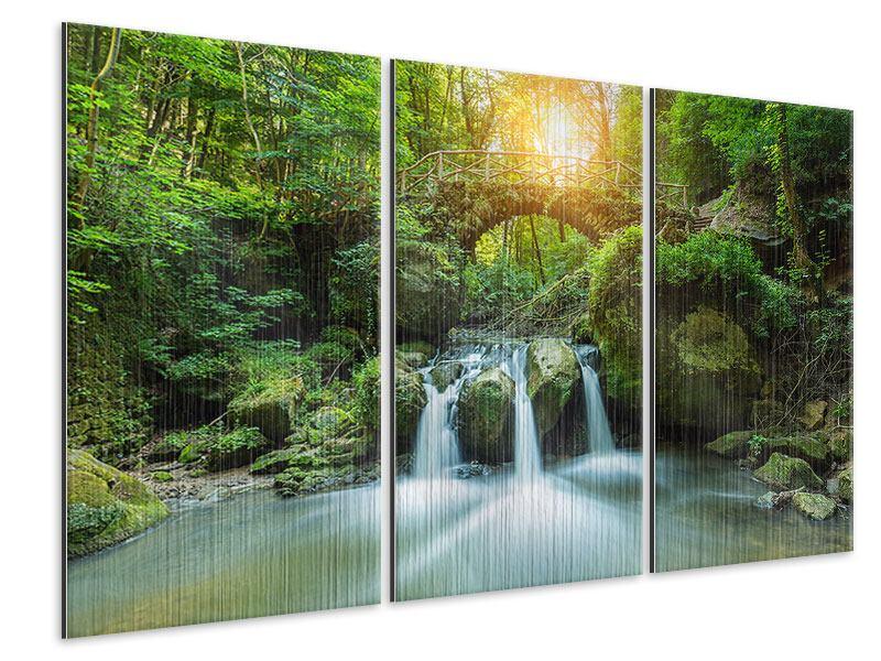 Metallic-Bild 3-teilig Wasserspiegelungen