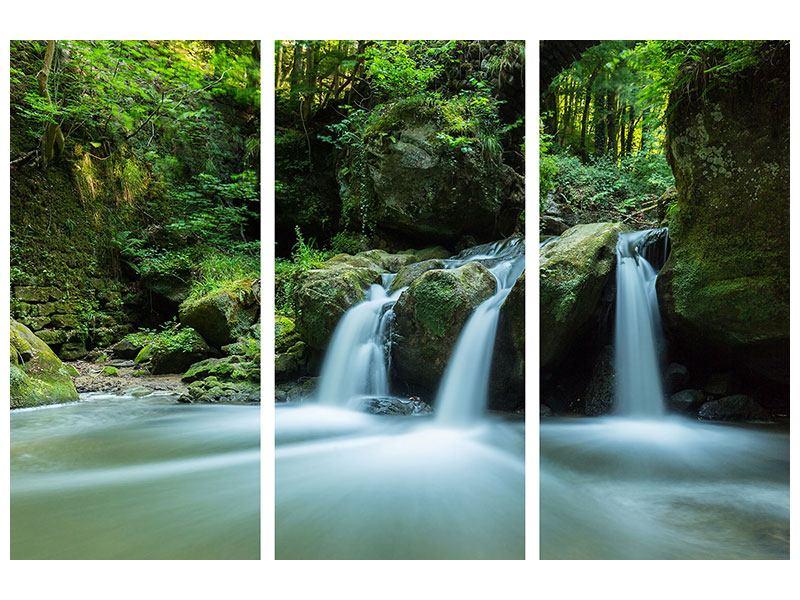 Metallic-Bild 3-teilig Fallendes Wasser