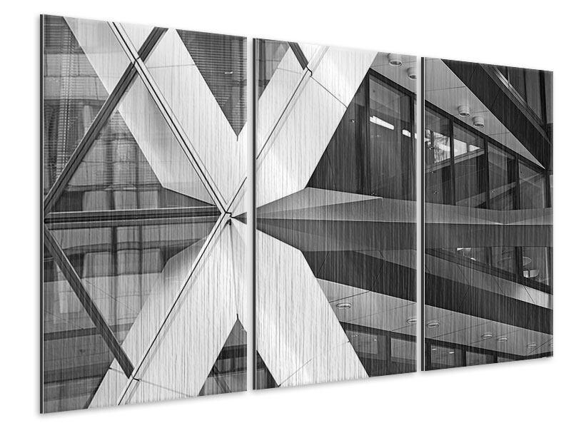 Metallic-Bild 3-teilig Teil eines Wolkenkratzers