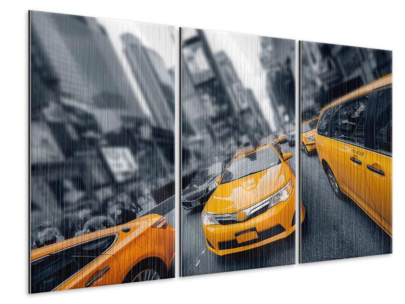 Metallic-Bild 3-teilig Taxi in NYC