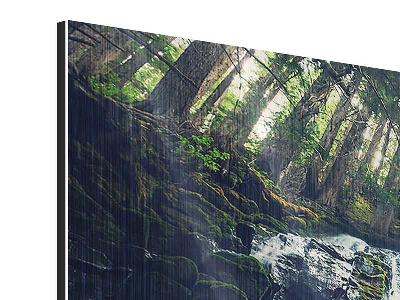 Metallic-Bild 3-teilig Feng Shui & Wasserfall