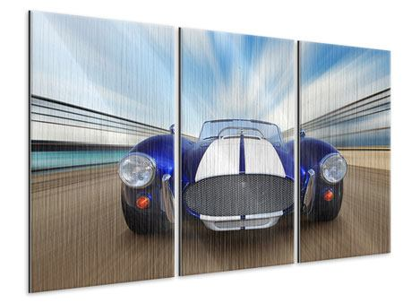 Metallic-Bild 3-teilig Rennwagen