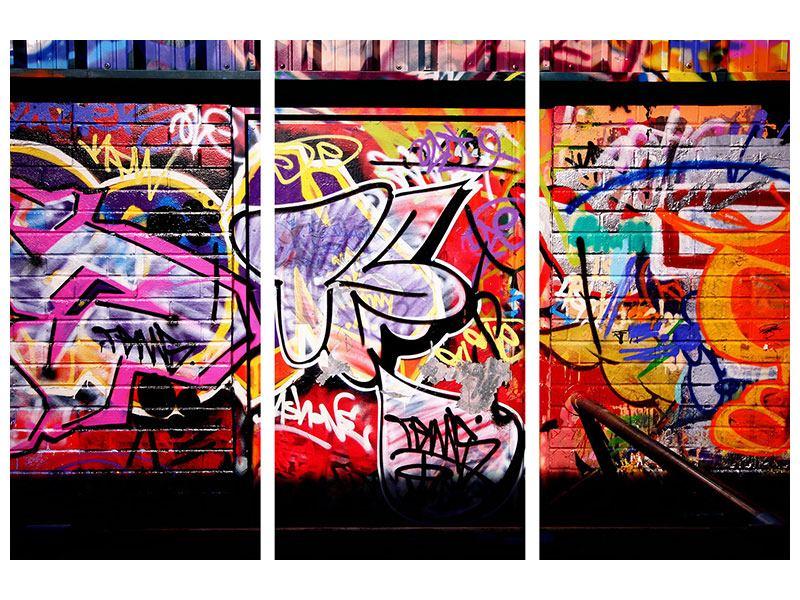 Metallic-Bild 3-teilig Graffiti Kunst