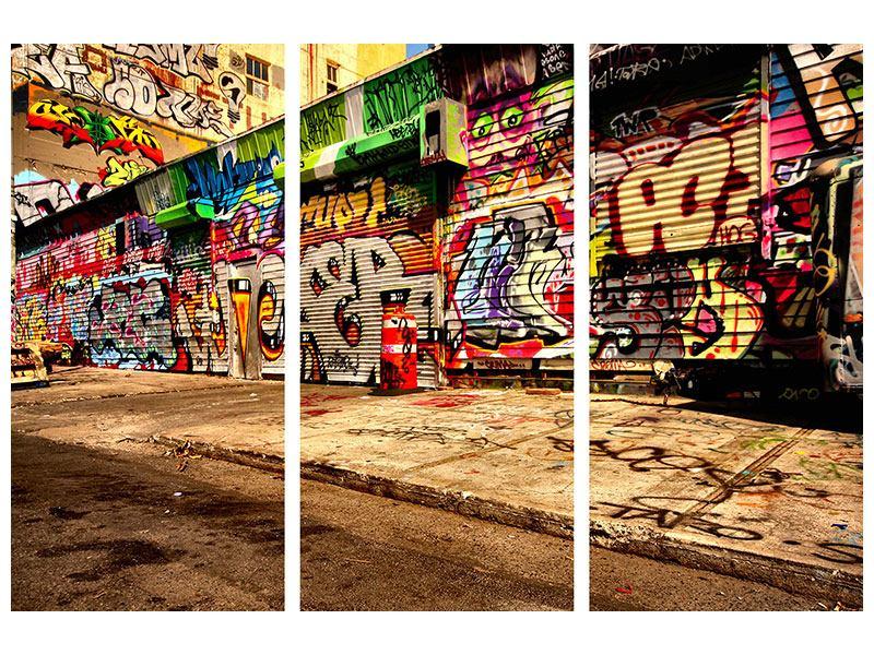 Metallic-Bild 3-teilig NY Graffiti