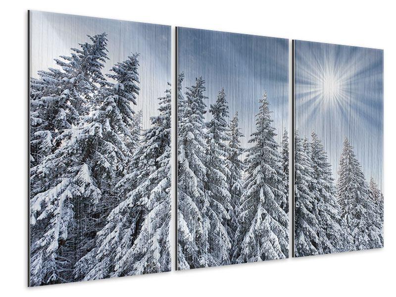 Metallic-Bild 3-teilig Wintertannen