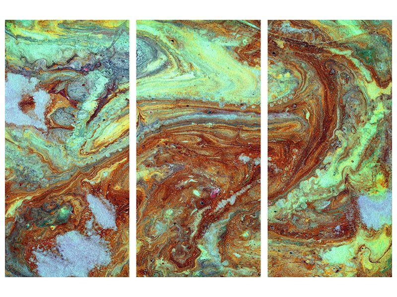 Metallic-Bild 3-teilig Marmor in Grün