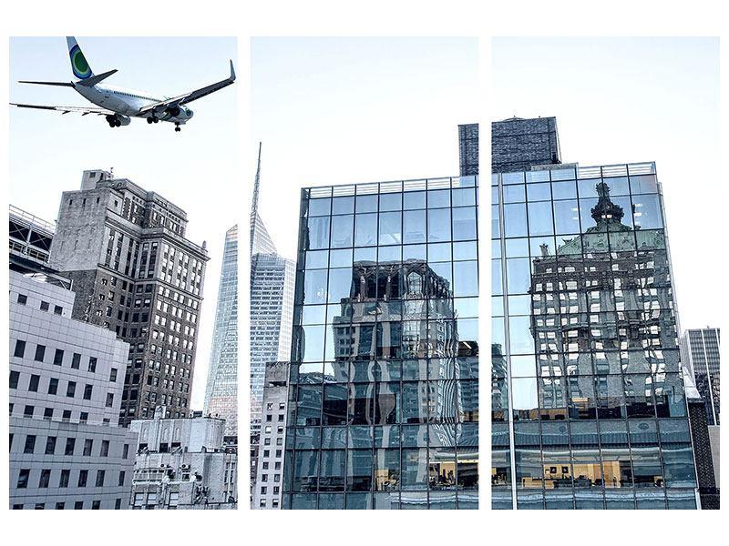 Metallic-Bild 3-teilig Wolkenkratzer NYC