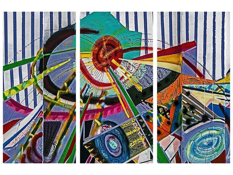Metallic-Bild 3-teilig Künstlerisches Graffiti