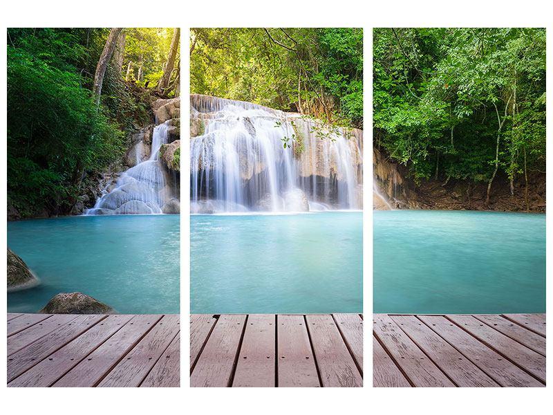 Metallic-Bild 3-teilig Terrasse am Wasserfall