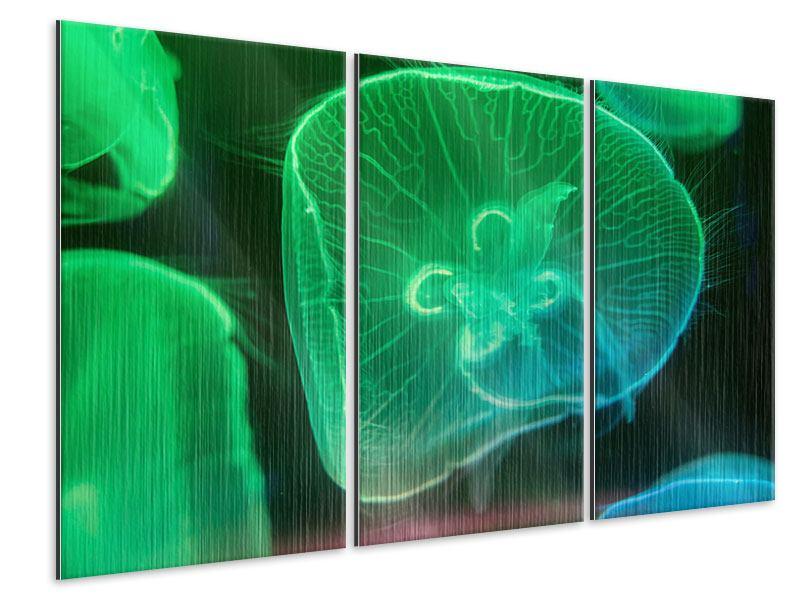Metallic-Bild 3-teilig Quallen im Licht