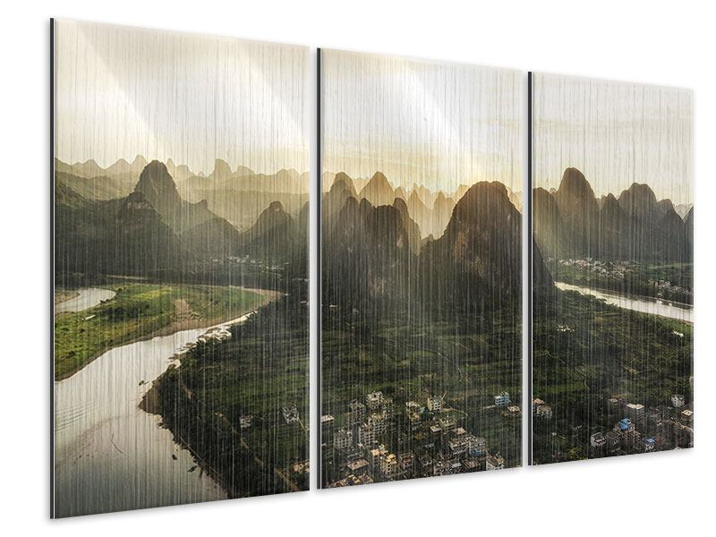 Metallic-Bild 3-teilig Die Berge von Xingping