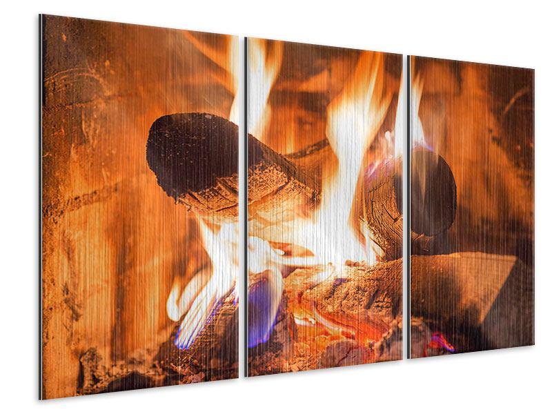 Metallic-Bild 3-teilig Kaminfeuer
