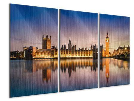 Metallic-Bild 3-teilig Big Ben in der Nacht