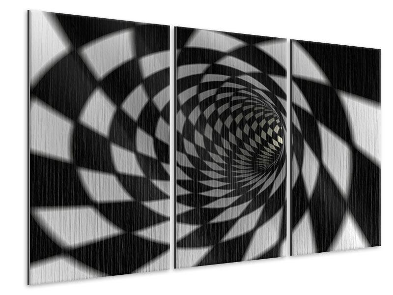 Metallic-Bild 3-teilig Abstrakter Tunnel Black & White