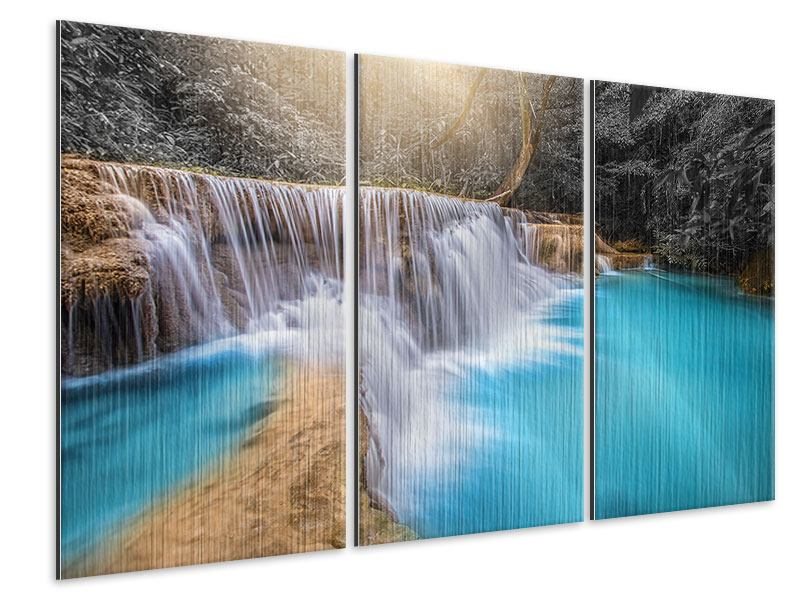 Metallic-Bild 3-teilig Glücklicher Wasserfall