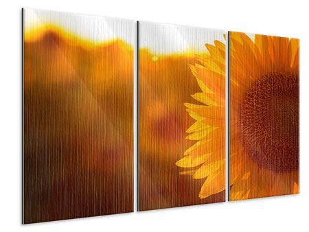 Metallic-Bild 3-teilig Macro-Sonnenblume
