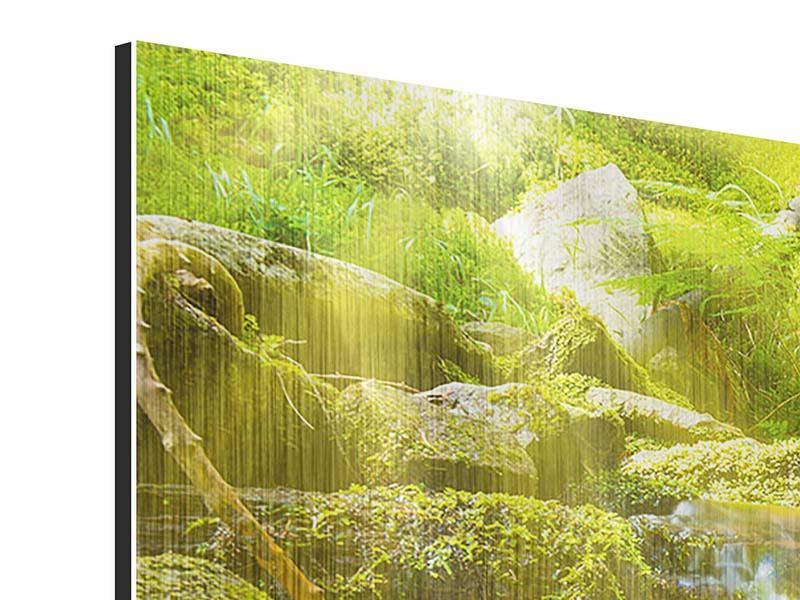Metallic-Bild 3-teilig Schönheit des fallenden Wassers