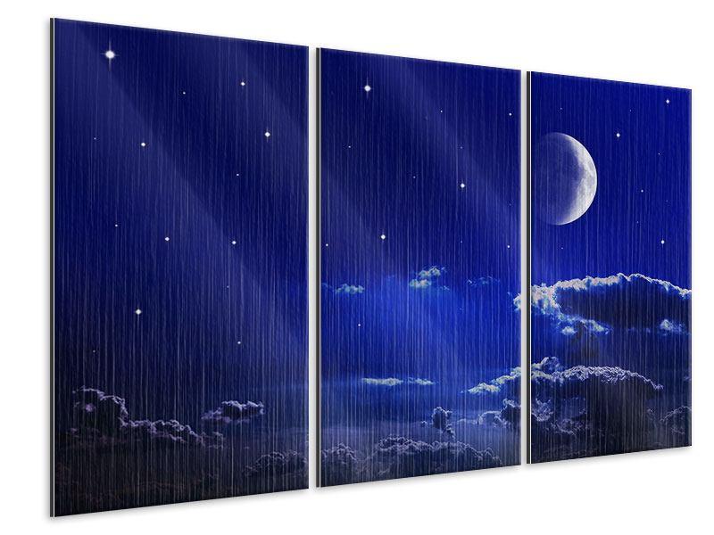 Metallic-Bild 3-teilig Der Nachthimmel