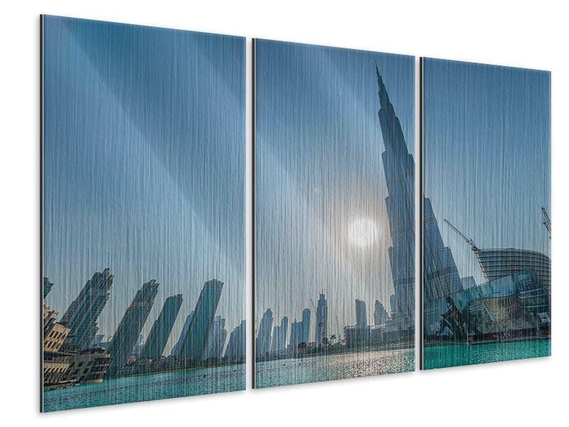 Metallic-Bild 3-teilig Wolkenkratzer-Architektur Dubai