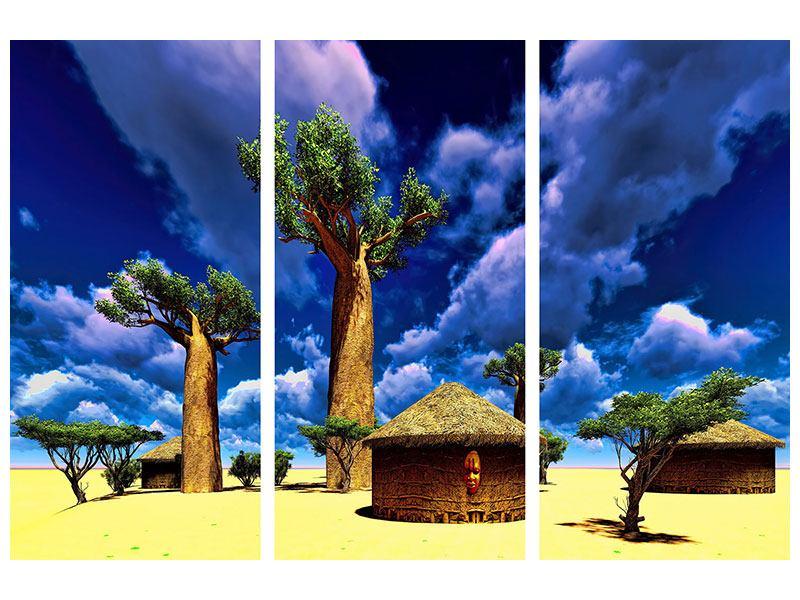 Metallic-Bild 3-teilig Ein Dorf in Afrika