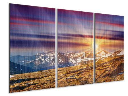 Metallic-Bild 3-teilig Majestätischer Sonnuntergang am Berggipfel