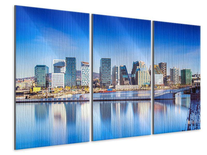 Metallic-Bild 3-teilig Skyline Oslo