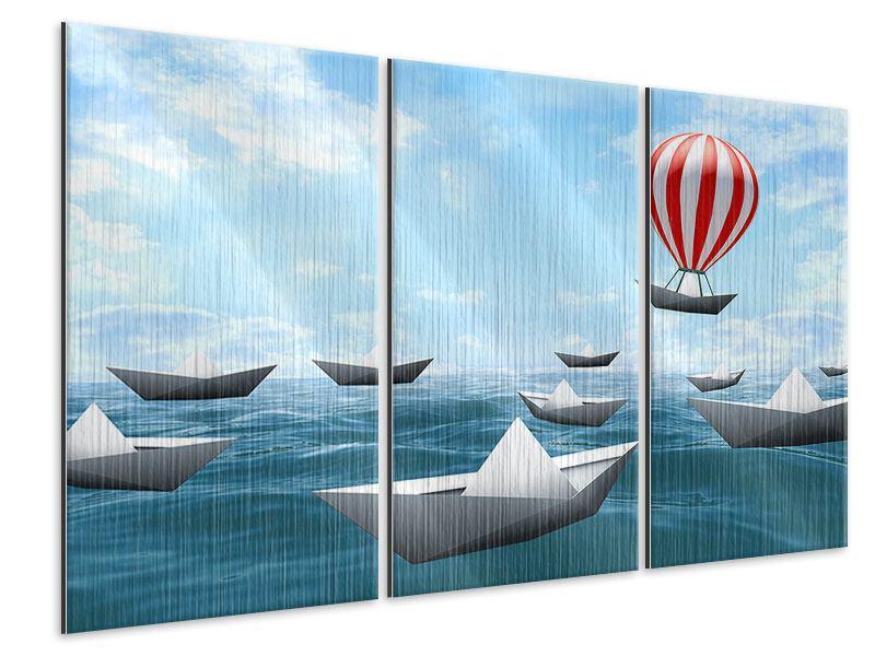 Metallic-Bild 3-teilig Schiffchen