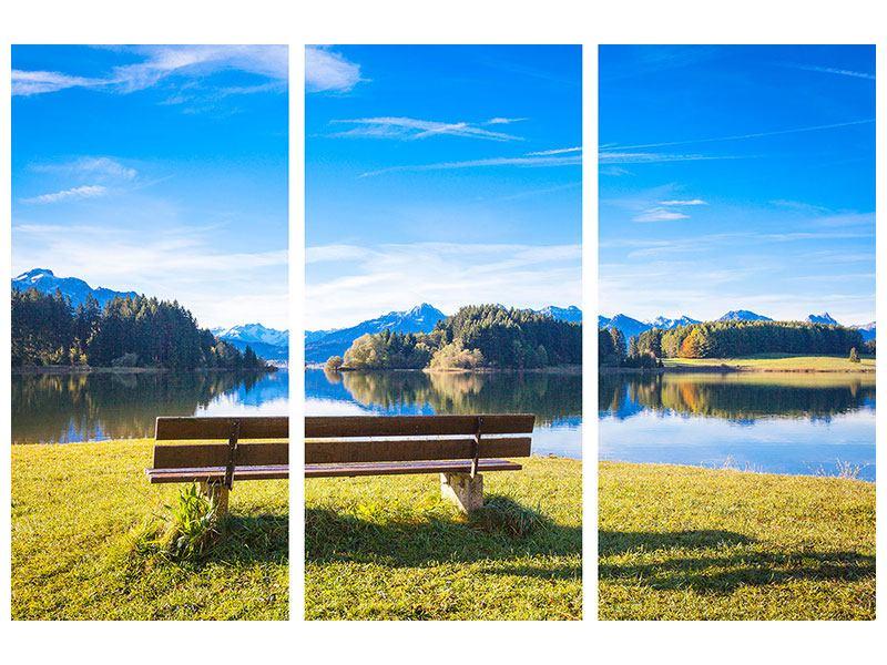 Metallic-Bild 3-teilig Sitzbank mit Bergpanorama