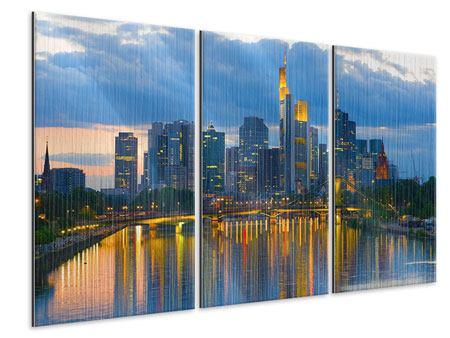 Metallic-Bild 3-teilig Skyline Frankfurt am Main