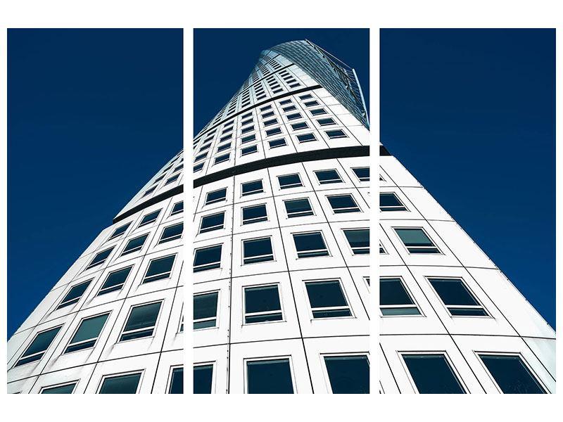 Metallic-Bild 3-teilig Meisterstück Wolkenkratzer