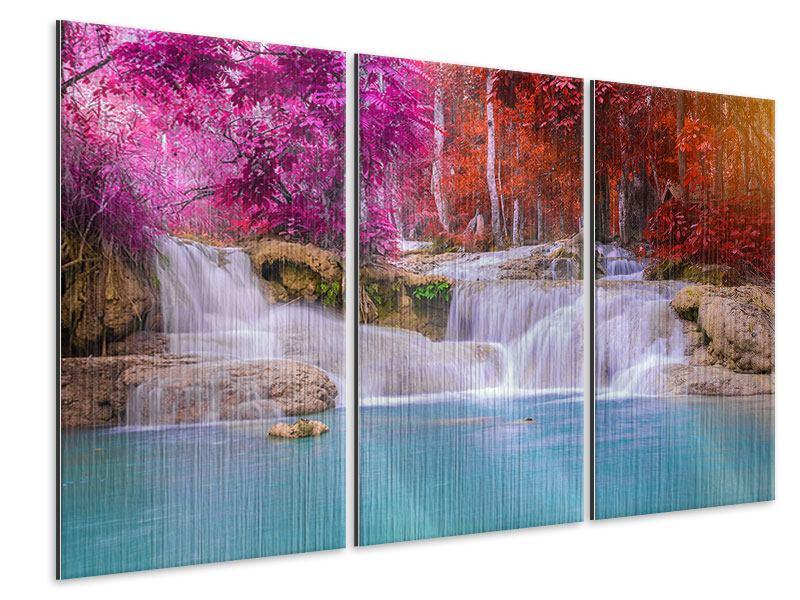Metallic-Bild 3-teilig Paradiesischer Wasserfall