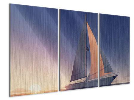 Metallic-Bild 3-teilig Das Segelschiff