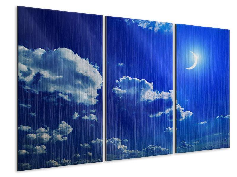 Metallic-Bild 3-teilig Der Mond