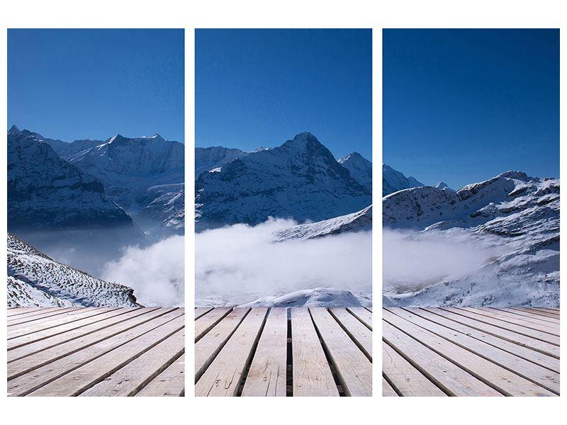 Metallic-Bild 3-teilig Sonnenterrasse in den Schweizer Alpen